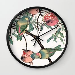 Pomegranate and Lovebirds Wall Clock