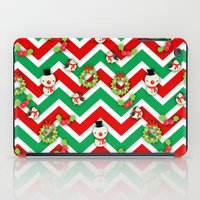cartoons iPad Cases featuring Festive Christmas Cartoons on Chevron Pattern by Kirsten Star