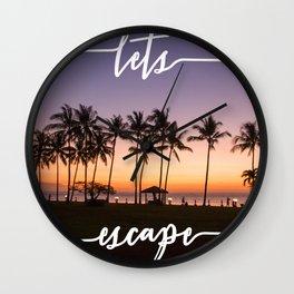 Lets Escape Tropical Print Wall Clock