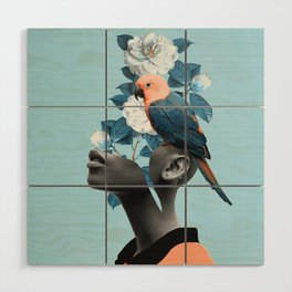 Girl with parrot Wood Wall Art