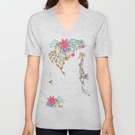 Vibrant Floral to Floral Unisex V-Neck