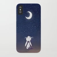 bunny iPhone & iPod Cases featuring Moon Bunny by Freeminds