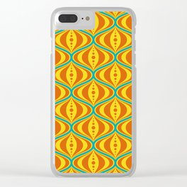 Retro Psychedelic Saucer Pattern in Orange, Yellow, Turquoise Clear iPhone Case