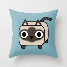 Cat Loaf - Siamese Kitty Throw Pillow