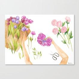 Flower Arranging Watercolor Painting Canvas Print