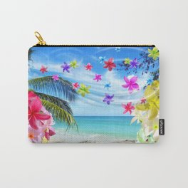 Tropical Beach and Exotic Plumeria Flowers Carry-All Pouch