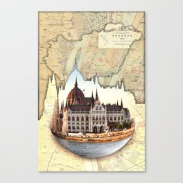Budapest Globe Map Canvas Print