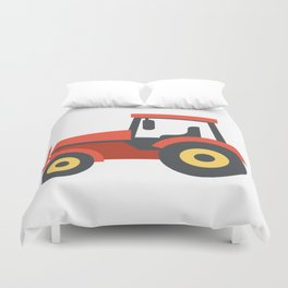 Red Farming Tractor Emoji Duvet Cover
