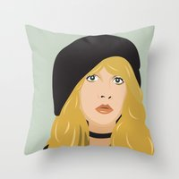 stevie nicks Throw Pillows featuring stevie by Britt Whitaker Design