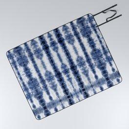 Tiki Shibori Blue Picnic Blanket