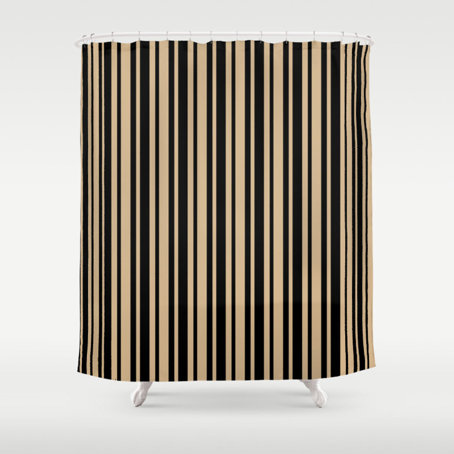 tan brown and black vertical var size stripes shower curtain by fiftycolors