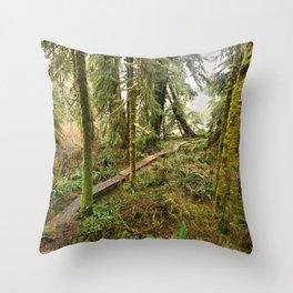 Pacific Coast Rainforest Boardwalk Throw Pillow