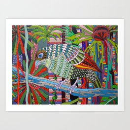 Satin Bowerbird woos his Mate detail 2 Art Print