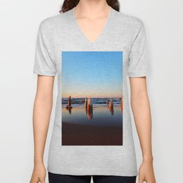 Reflected Remains on the Beach Unisex V-Neck