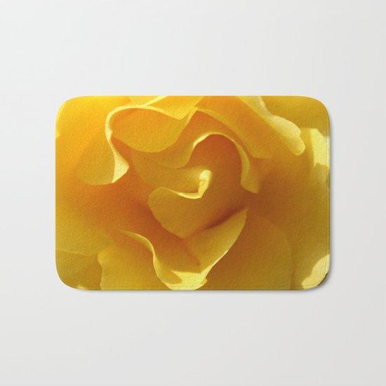 Yellow Rose Ruffles Abstract Bath Mat