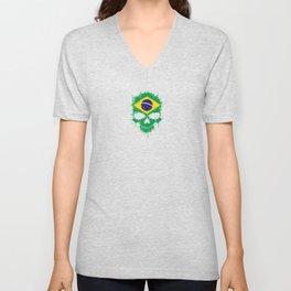Flag of Brazil on a Chaotic Splatter Skull Unisex V-Neck