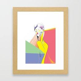 A girl with mustache Framed Art Print