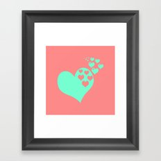 Love Coral Mint Framed Art Print