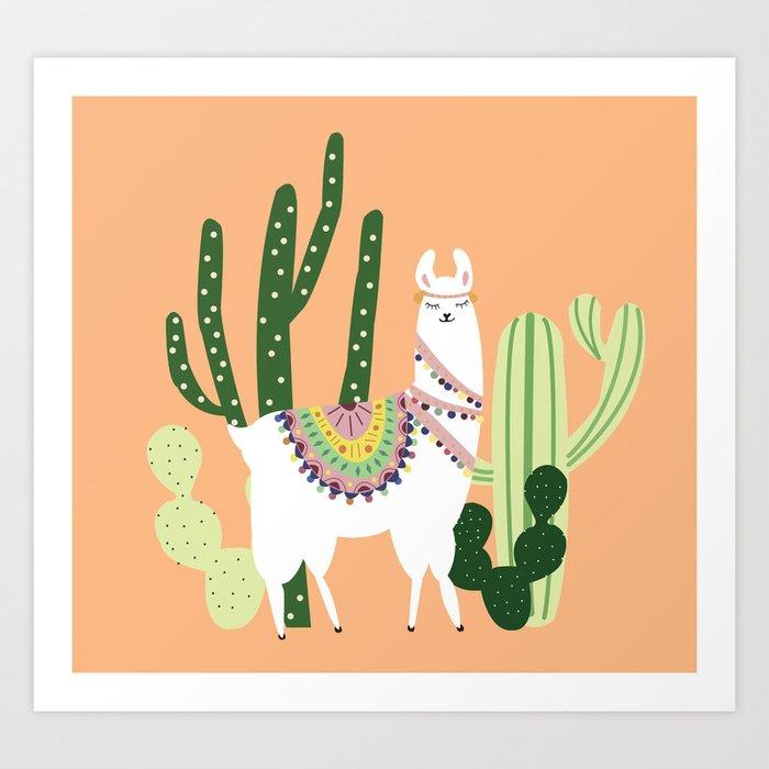Cute Llama with Cactus Art Print