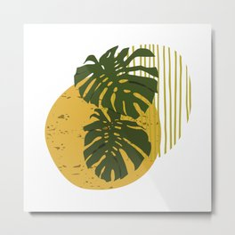 The Two Twin Leaves, Abstract Art Tropical Leaves, Summer Illustration Metal Print