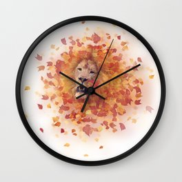Double exposure of a lion head and autumn leaves Wall Clock