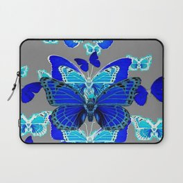DECORATIVE BLUE MONARCH STYLE BUTTERFLIES GREY ART Laptop Sleeve
