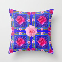 BLUE  GEOMETRIC ART CERISE & PINK FUCHSIA ROSES Throw Pillow
