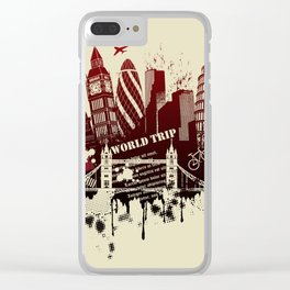 figures on international sites in grunge illustration Clear iPhone Case
