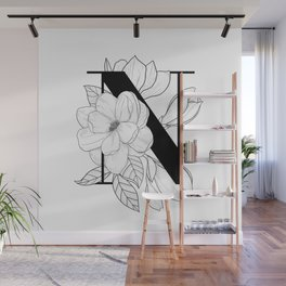 Monogram Letter N with Magnolia Line Art  Wall Mural