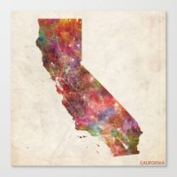 california Canvas Prints featuring California by MapMapMaps.Watercolors