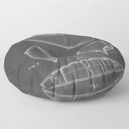 Canoe Patent - Kayak Art - Black Chalkboard Floor Pillow