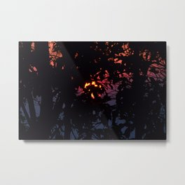 Sunrise Through Smoke and Leaves Metal Print