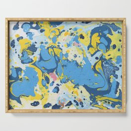 Abstract Blue & Yellow Paint Serving Tray