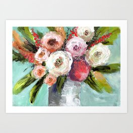 Peach and White Roses Art Print