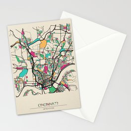 Colorful City Maps: Cincinnati, Ohio Stationery Cards