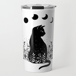 Night Garden Cat Travel Mug