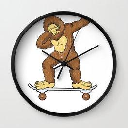 Skateboarding Bigfoot Sasquatch on Skateboard Gift for Skater  Wall Clock