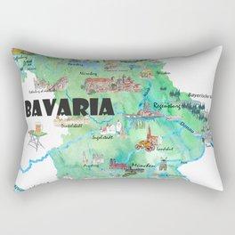 Bavaria Germany Illustrated Travel Poster Map Rectangular Pillow