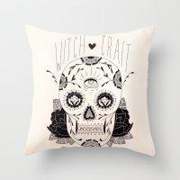 dia de los muertos Throw Pillows featuring Dia de los muertos by Thrashin