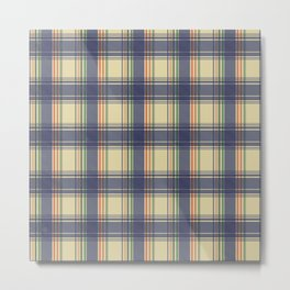 Tartan Pattern in Beige and Blue Metal Print