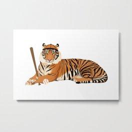 Baseball Tiger Metal Print