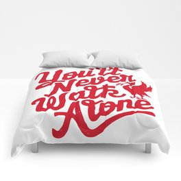 You'll Never Walk Alone - Red on White Comforters