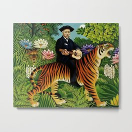 Henri Rousseau Dreaming of Tigers tropical big cat jungle scene by Henri Rousseau Metal Print