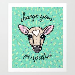 Change Your Perspective Tan Baby Cow Art Print
