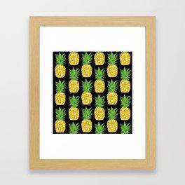 Pineapple Pop Black Framed Art Print