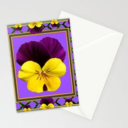 PURPLE & YELLOW SPRING PANSIES GARDEN Stationery Cards