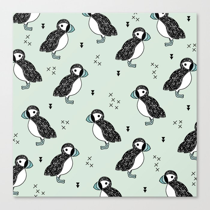 Cute Icelandic Puffin birds mint pattern Canvas Print
