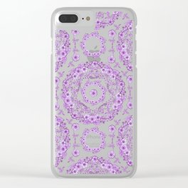 Victorian Ultra Violet Flowers Clear iPhone Case
