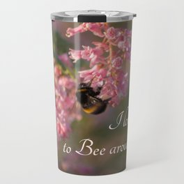 Nature bee on pink flowers Travel Mug