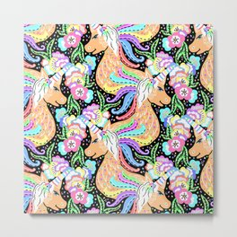 Magical Rainbow Unicorn with Spring Flower Clouds - Purple, Pink & Pastels Sparkle Pattern Illo Metal Print